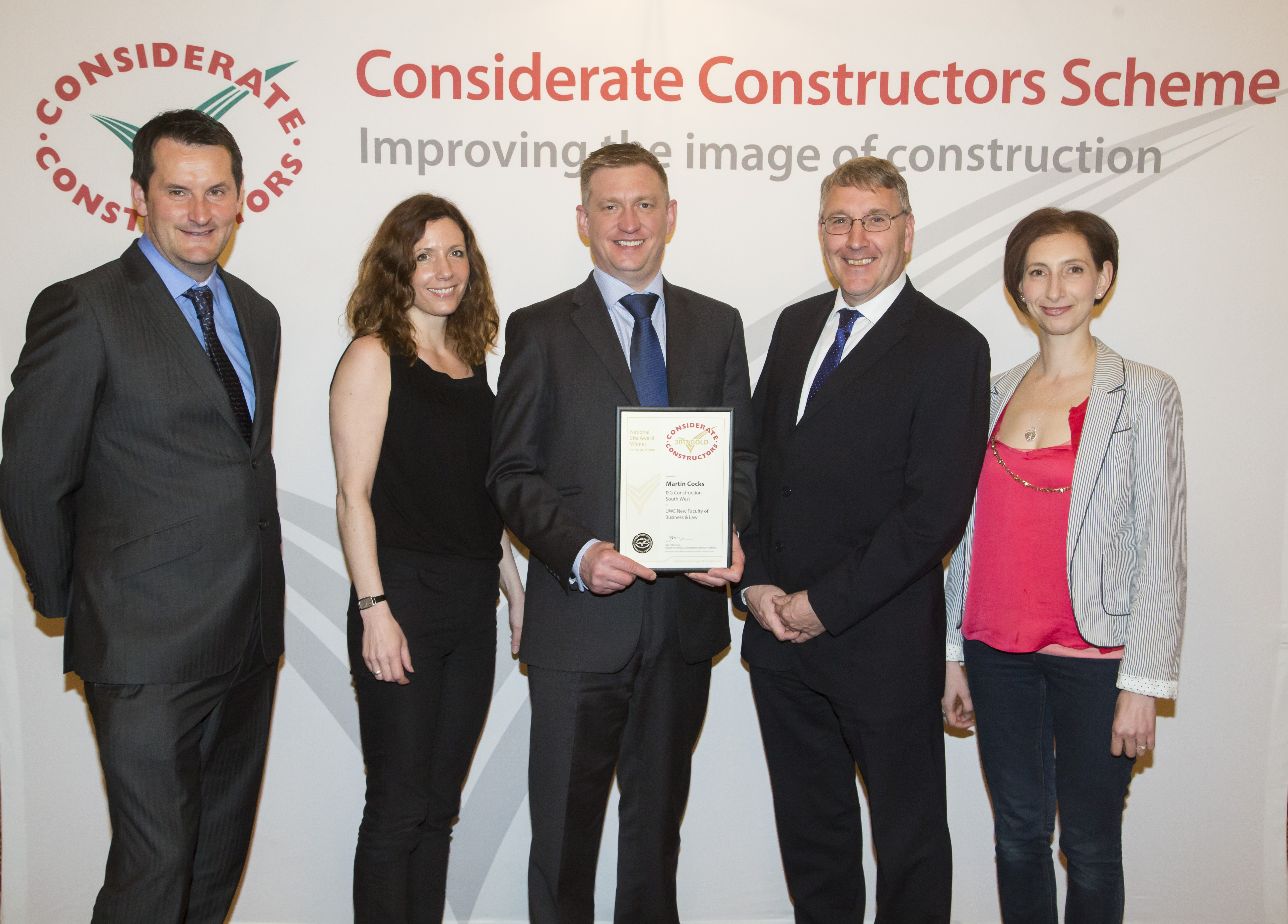 UWE Bristol new Business School building contractor wins gold at the National Considerate Constructors Awards