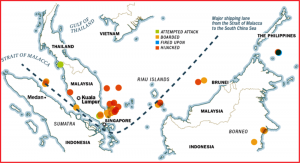 Piracy map of south east Asia