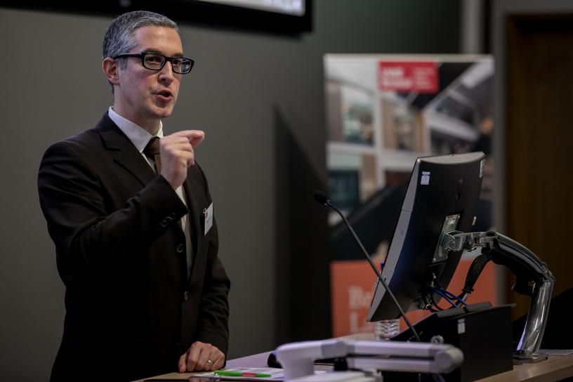 Professor Laurent Pech giving his address