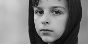 Boy portrait in black and white