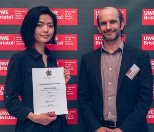Tomoko receiving her award for Intern of the year at Celebrating UWE Talent