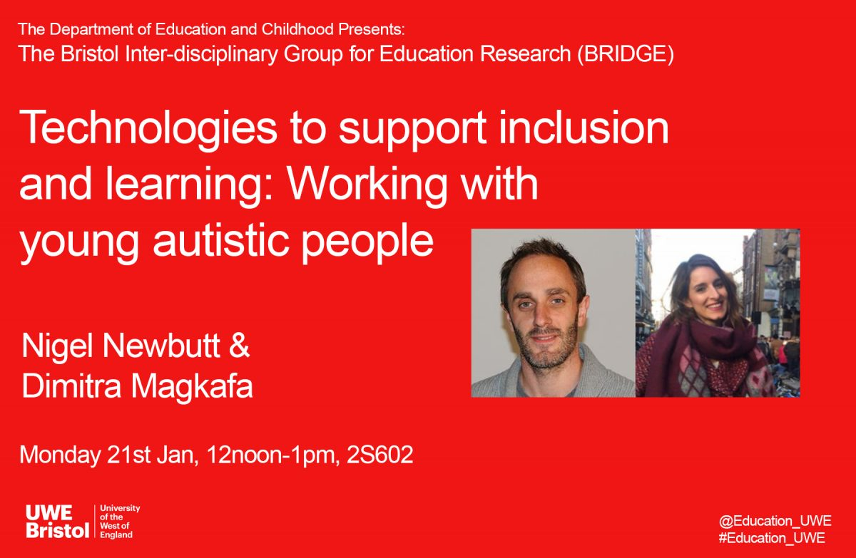 BRIDGE Education Research Seminar – Technologies to support inclusion and learning: Working with young autistic people