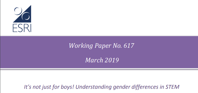 ESRI publishes working paper on understanding gender differences in STEM