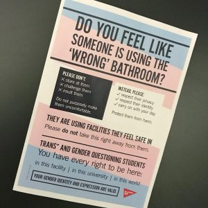 Poster promoting UWE bathroom as a safe space for Trans and Gender Questioning Students