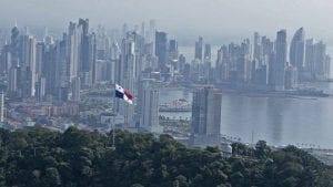 Panama city skyscrapers around the harbour