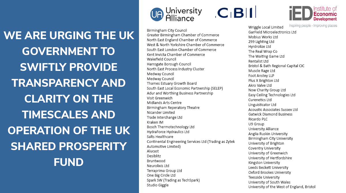 UWE Bristol signs open letter calling for clarity and transparency on the future UK Shared Prosperity Fund