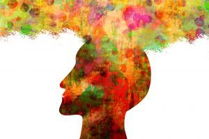 Illustration of a head with thoughts coming out