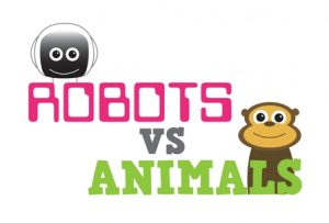 Robots v Animals logo with cartoon robot and monkey