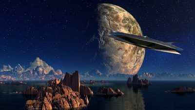 science fiction landscape with moon and spacecraft