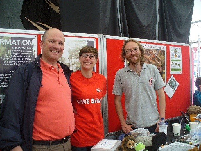 Erik Stengler, Hannah Conduit and Jeff Dawson, at the Saving the Mountain Chicken Frog stand, Bristol Festival of Nature