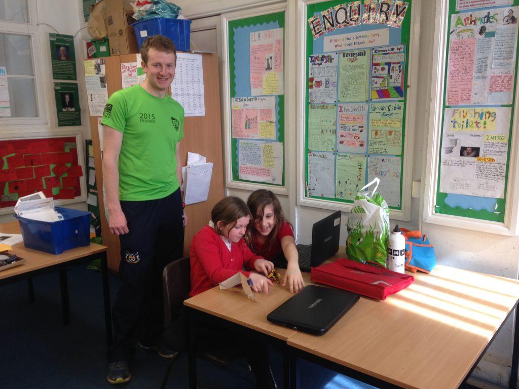Martin Garrad with Luckwell primary school children