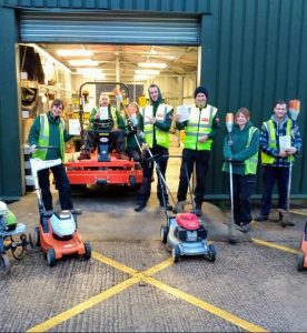 The UWE grounds team at the depot