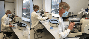 3 images showing someone working in a laboratory.