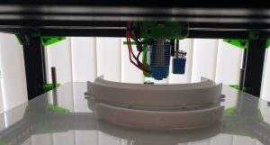 Image of a visor on the print bed