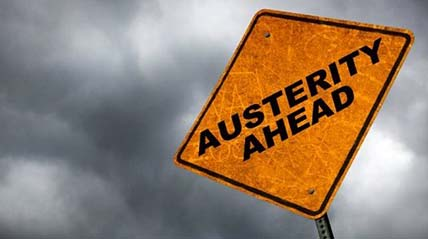 Austerity Ahead road sign